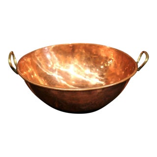 19th Century French Patinated Copper Bowl With Handles
