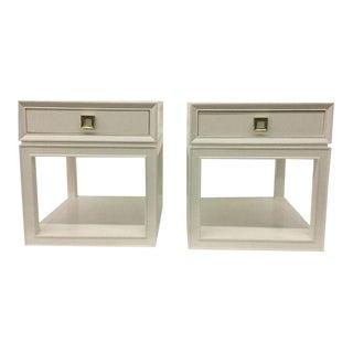Malibu Loft White & Brass Side Tables - A Pair