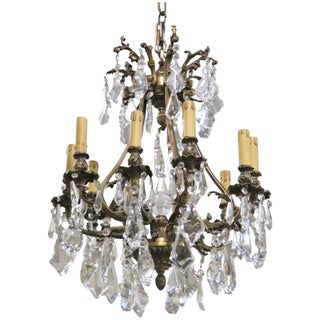 Antique French Bronze & Crystal Chandelier