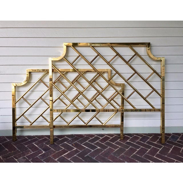 Image of Chinese Chippendale Style Brass Queen Bedframe