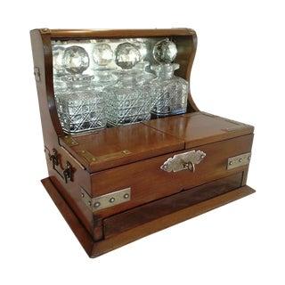 Antique English Mahogany Tantalus Crystal Decanter