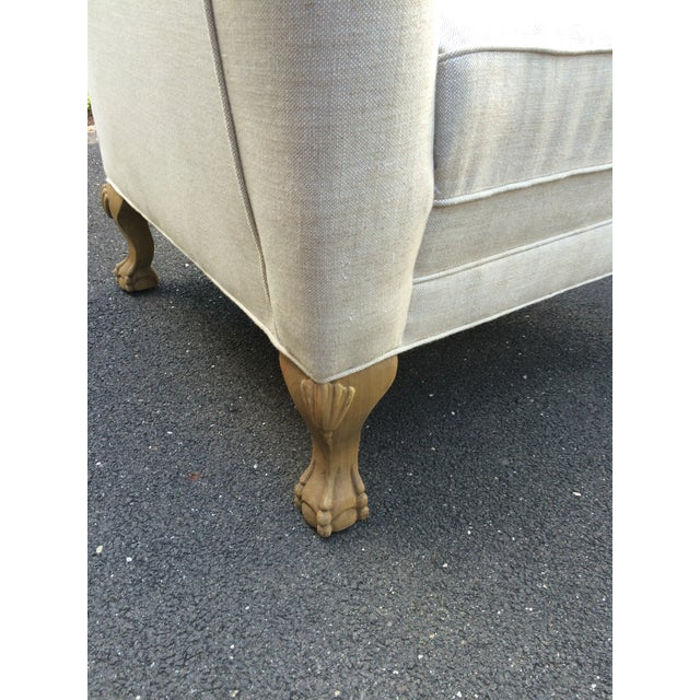 Restoration Hardware Linen Club Wing Chairs - Pair - Image 6 of 6