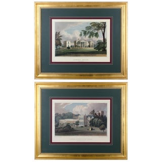 English Country Manor House Prints - A Pair