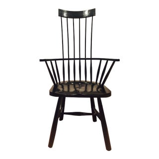 Custom Black Windsor Chairs - Pair