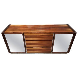 Mirrored Zebrawood & Chrome Dresser