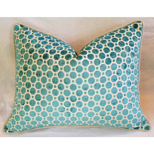 Turquoise Geometric Dot Velvet Feather/Down Pillow - Image 2 of 7