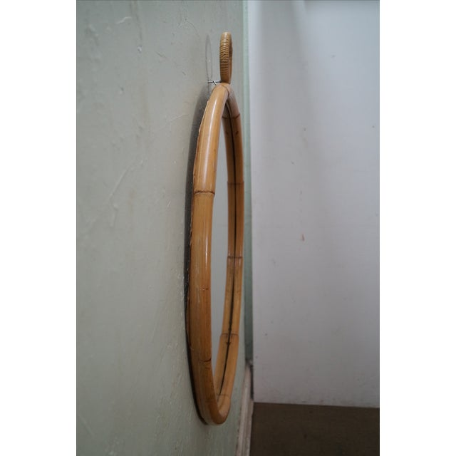 Mid-Century Round Bamboo Wall Mirror - Image 3 of 10