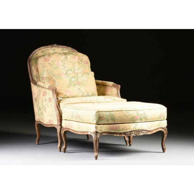 Louis XV Style Bergere & Footstool - Image 2 of 8