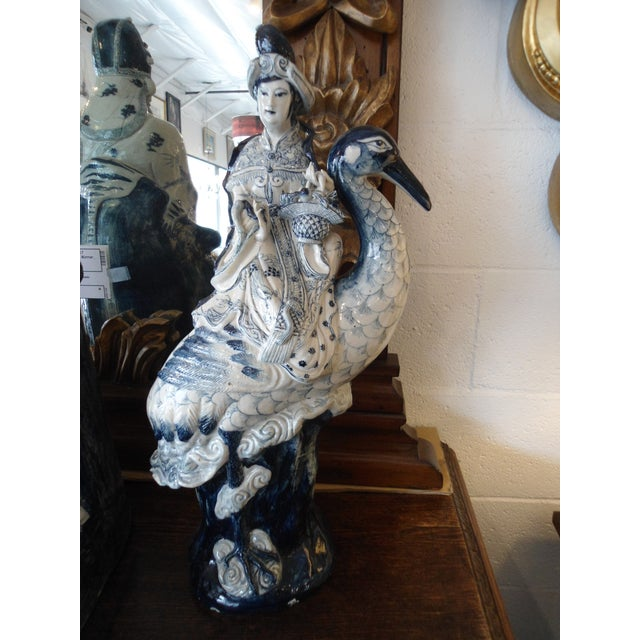 Woman on Heron Porcelain Statue - Image 3 of 5