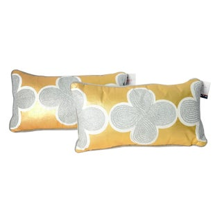 Jonathan Adler Quatrefoil Gold & Silver Metallic Throw Pillows - A Pair