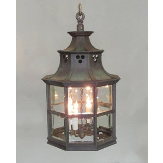 Large Early 19th Century English Regency Bronze and Glass Lantern