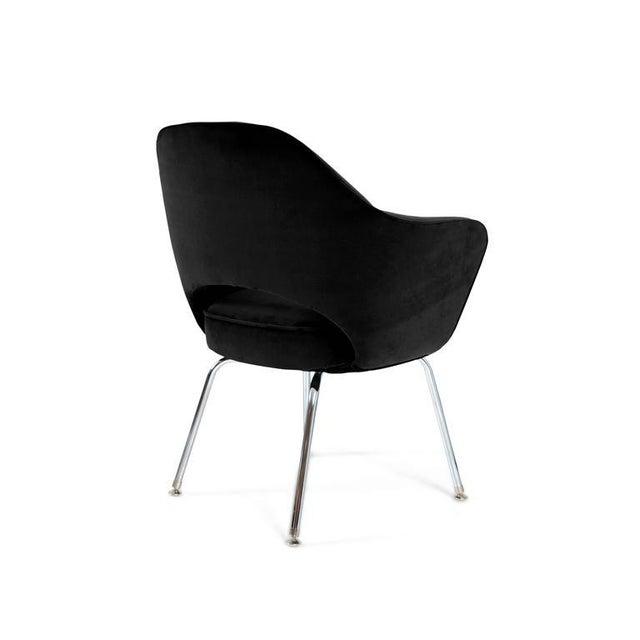 Saarinen Executive Armchairs in Black Velvet, Set of Six - Image 3 of 4