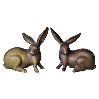 Vintage Solid Bronze Rabbits - A Pair