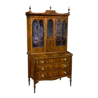 Inlaid Figured Mahogany Federal Hepplewhite Secretary Desk