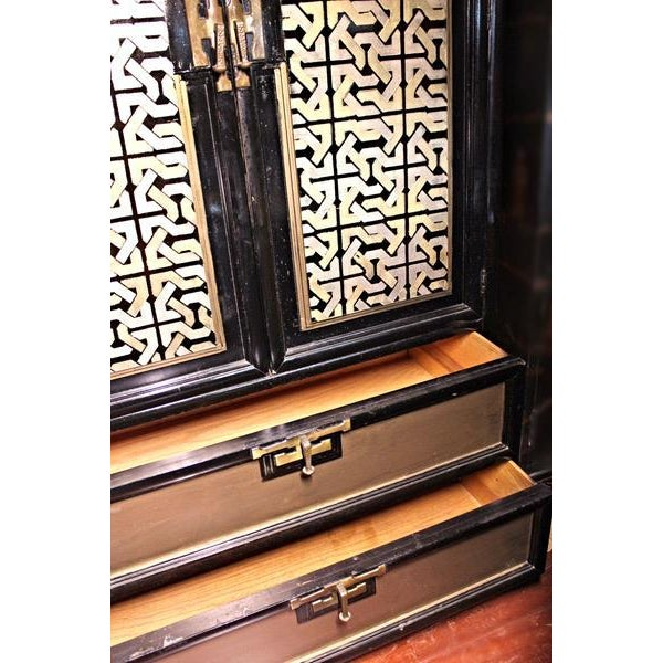 Mid-Century Gold Black Laquer Armoire Wardrobe - Image 8 of 10