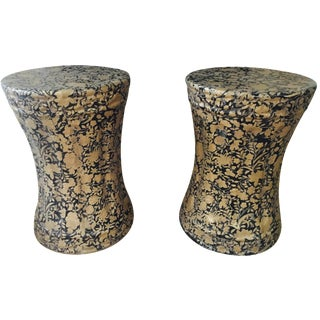Gold and Black Pedestal Side Tables - A Pair