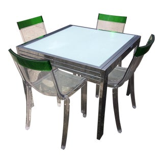 Milo Baughman Chrome Dining Table and Philippe Stark Kartell Chairs- Set of 4