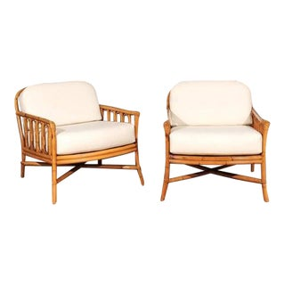 Decorative Pair of Restored Vintage Ficks Reed Loungers