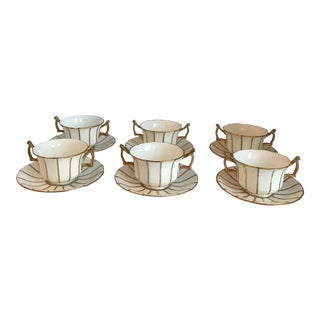 Antique English Double Handled Cups & Saucers - Set of 6