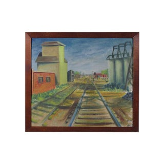 "Early 20th Century ""Railroad Tracks"" Oil Painting"