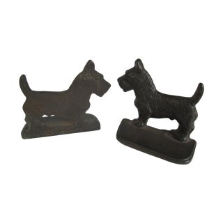 Cast Iron Scottie Dog Bookends - Pair
