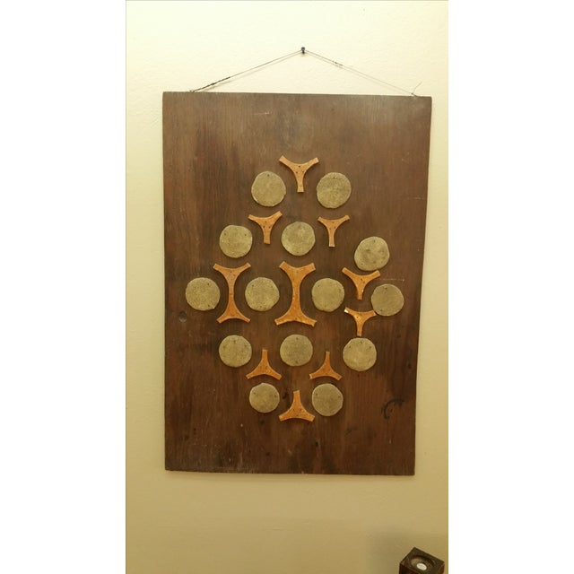 Image of Cement & Ceramic Collage Wooden Wall Hanging