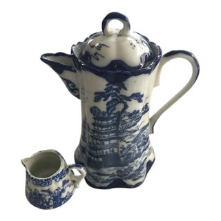 Chinoiserie Blue & White Teapot & Creamer