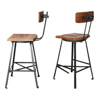 Pair of Vintage Industrial Wood and Metal Bar Stools