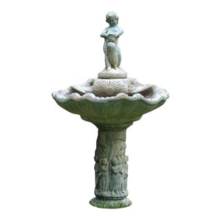 Pre-1963 Vintage Henri Studios Stone Cherub Estate Fountain