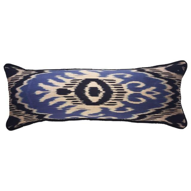 Image of Large Silk Atlas Ikat Bolster Pillow