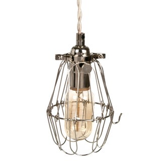 Industrial Metal Cage Pendant Light - Nickel