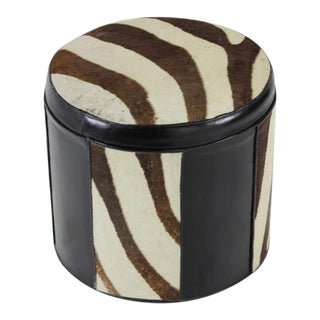 Stunning Zebra Hide and Leather Pouf or Hassock