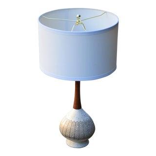 Mid-Century Textured Pottery Lamp