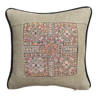 """Vintage Applique Textile Lao Pillow With Black Trim on Linen - 15"""" x 15"""""""