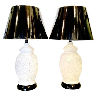 Vintage Hollywood Regency Faux Bamboo Lamps - A Pair