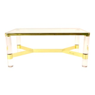 Karl Springer Brass and Lucite Cocktail Table