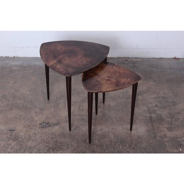 Pair of Goatskin Nesting Tables by Aldo Tura - Image 7 of 10