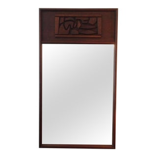 Brutal Carved Mahogany Oversized Mirror