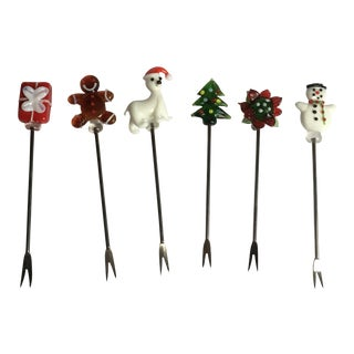 Vintage Christmas Holiday Glass Cocktail Picks - Set of 6