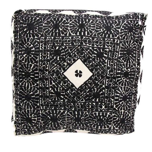 Handmade Moroccan Black Square Floor Pouf - Image 1 of 2
