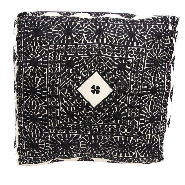 Image of Handmade Moroccan Black Square Floor Pouf