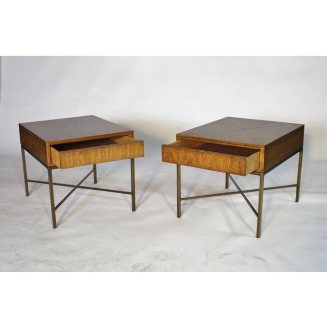 Image of Single Drawer X-Frame Side Tables - A Pair