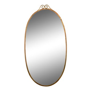 Large Mid-Century Oval Brass Mirror in the Manner of Gio Ponti