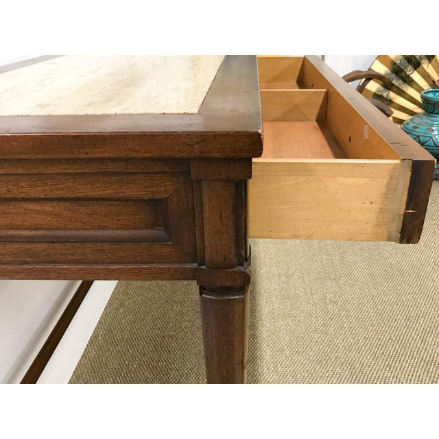 Mid Century Marble Top Console Table, Desk - Signed White Furniture - Image 6 of 8