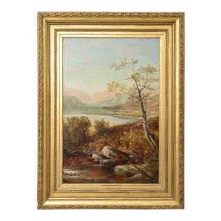 "19th Century Oil on Board Painting, ""Loch Tyt N. B."": Thomas Hines"