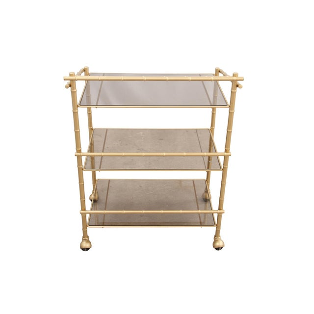 Image of Chinoiserie Faux Bamboo Bar Cart