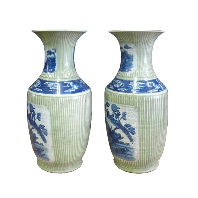 Chinese Porcelain Blue & Green Vases - A Pair - Image 2 of 4