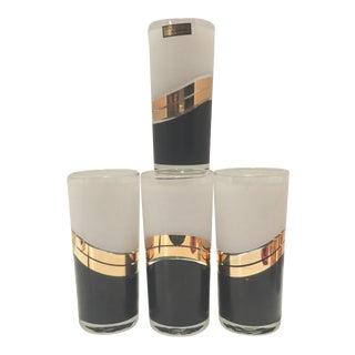 Vintage 1970's Culver Black, White & 22k Gold Tall Tumbler Glasses