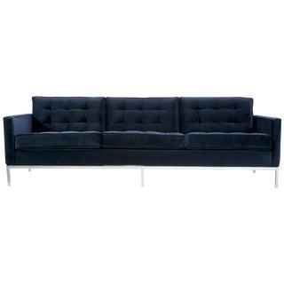 Florence Knoll Vintage Navy Velvet Sofa