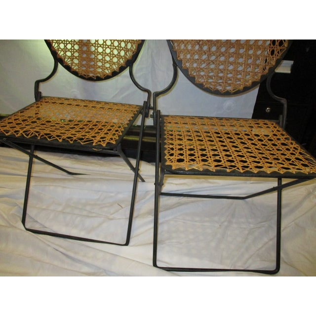 French Iron Beach Chairs With Cane Seats - A Pair - Image 3 of 11